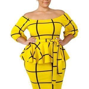 Dresses & Skirts - Yellow/Black Checkered Peplum Dress